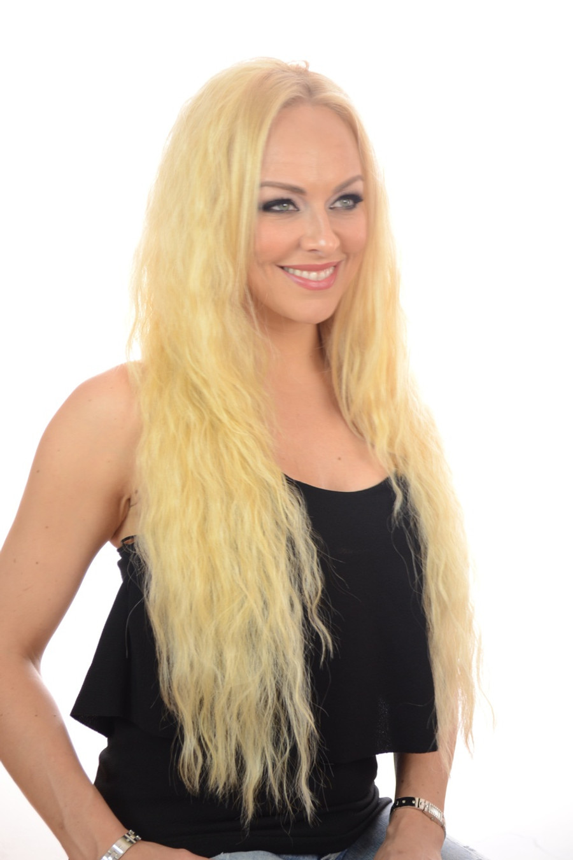 V Tress Crimp Texture Half Wig Candy Blonde