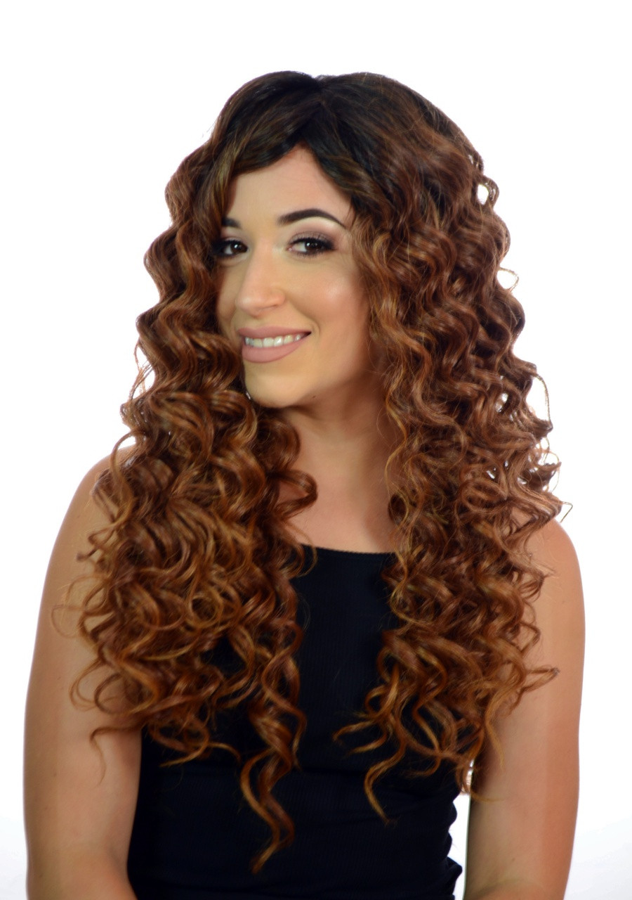 Afrodite Long Curly Afro Monofilament Wig In 2 Natural