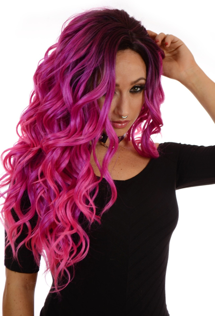 Root Effect Pink Wig Carnival-Doll