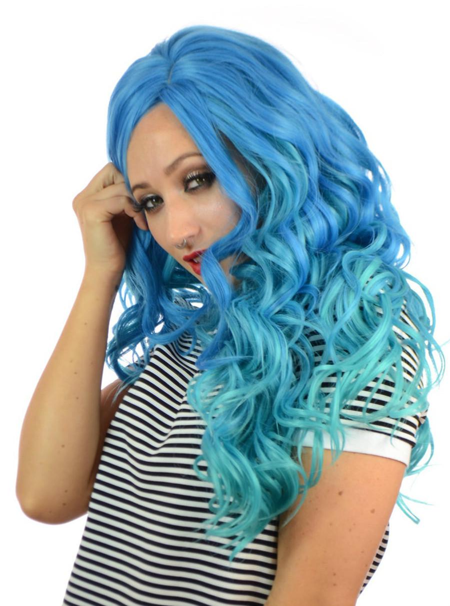 Blue Aqua Lace Front Wig Carnival Doll
