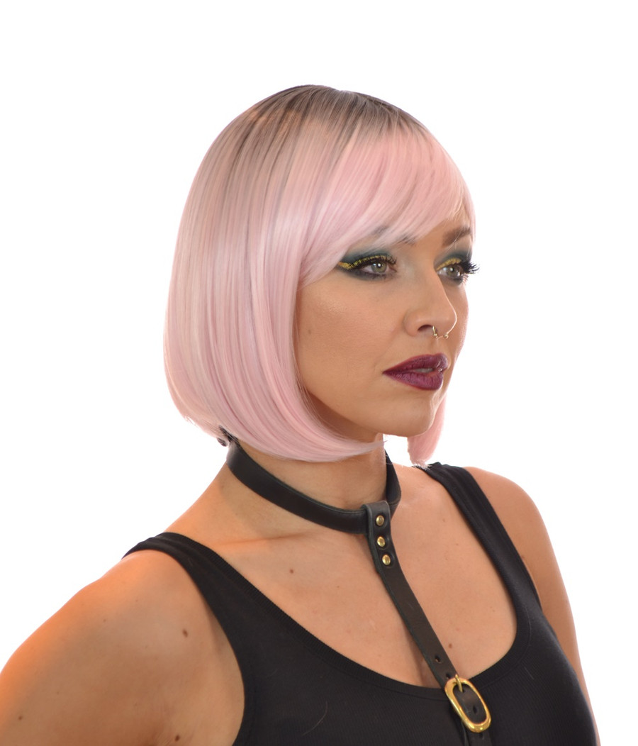 Rose Gold Pink Rooted Bob wig