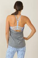 Grace En Pointe Y-Back Yoga Top (Heather Grey/Riviera Tile print)