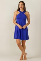 Glamour Goddess Luxe Halter Yoga Dress in Paradise Blue