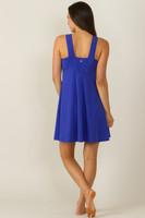 Glamour Goddess Luxe Halter Yoga Dress in Paradise Blue (back)