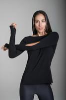 KiraGrace Slit Sleeve Boat Neck Yoga Top in Black