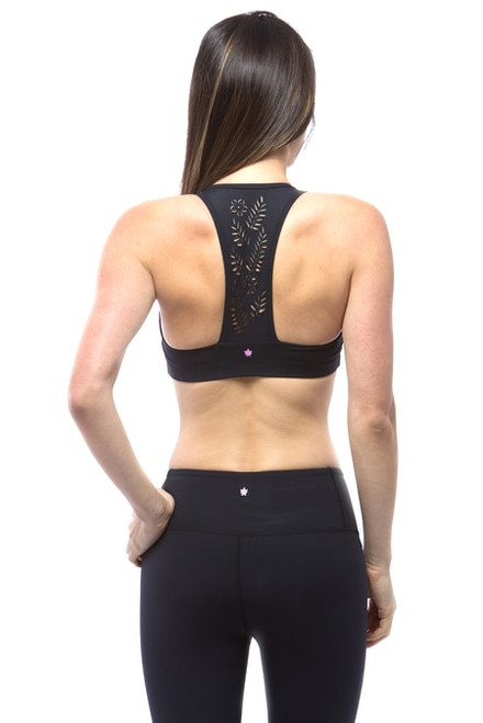Black Warrior Laser-Cut Out Yoga Bra Tops
