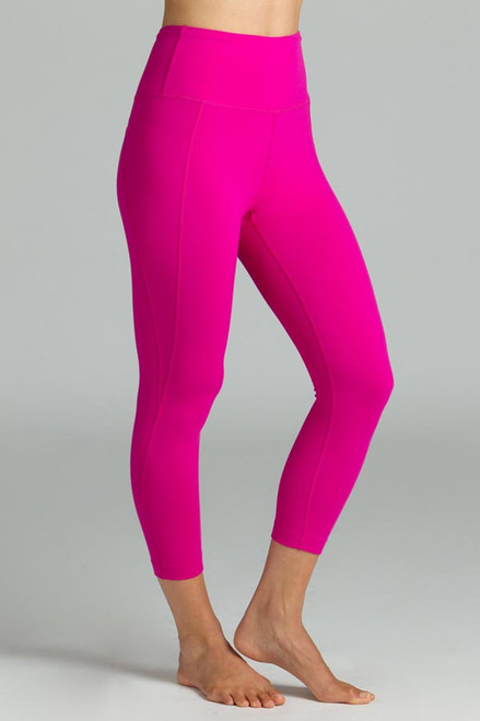 Fuchsia High Waist Yoga Capris Leggings