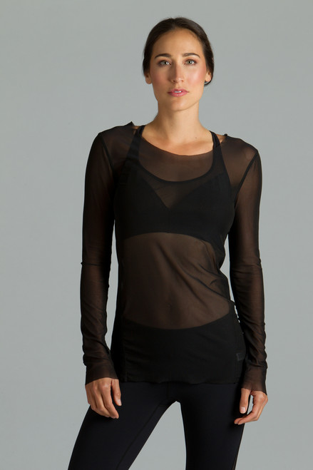 Black Diva Mesh Yoga Tops
