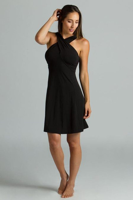 Luxe Halter fit and flare activewear little black dress back with wrap neck detail front
