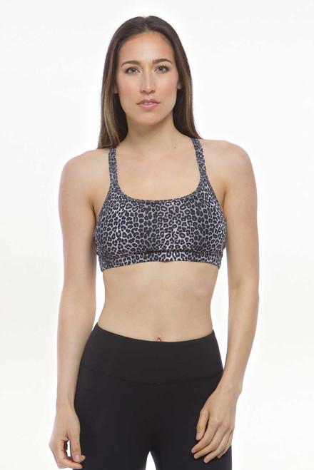 Flirt Yoga Bra (Charcoal  Leopard)