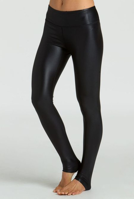 KiraGrace Grace High Waisted Yoga Leggings in Black Lacquer