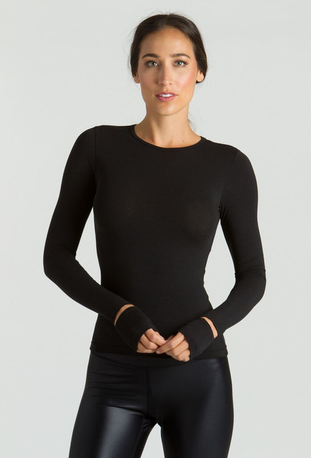 KiraGrace Cut-Out Sleeve yoga Top in black