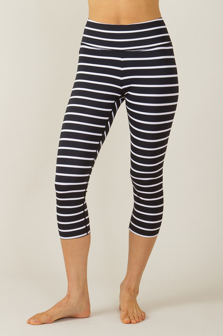 Grace High Waisted Yoga Capri Stripe Print