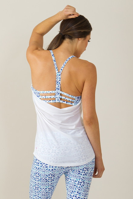 Grace En Pointe Y-Back Yoga Top (White/Riviera print)