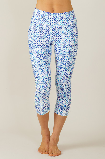 Grace High Waisted Yoga Capri (Riviera Tile print)