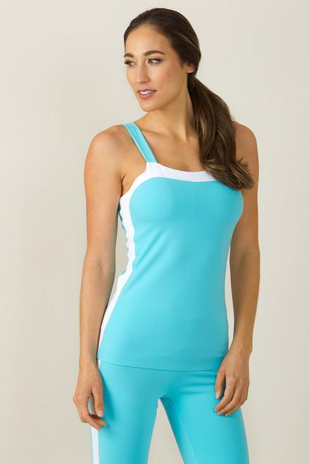 Grace Bodice Yoga Tank (White/Calypso blue)