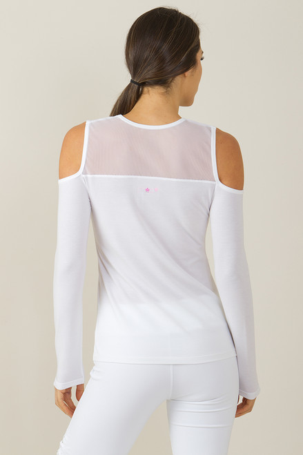 KiraGrace White Romance Cold Shoulder Cut-Out Yoga Shirt