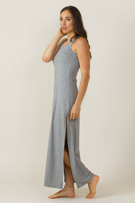 KiraGrace Long Racerback Yoga Dress (Heather Grey)