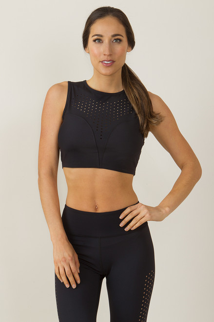 KiraGrace Warrior Dot Lasercut Yoga Crop Top Bra