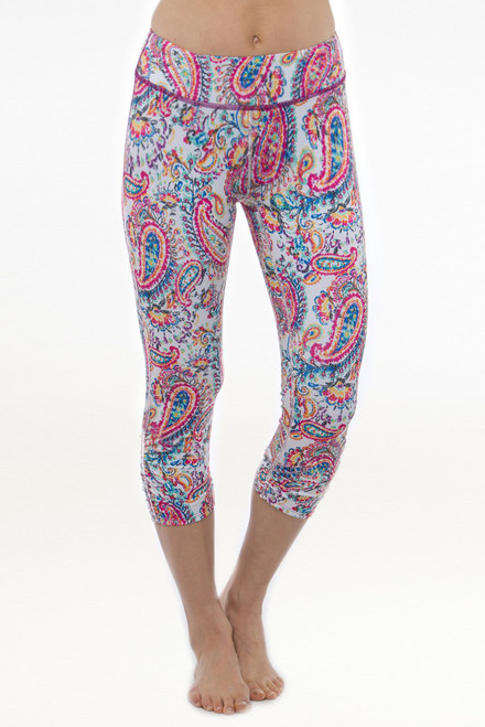 Grace High Waisted Yoga Capri (Spring Paisley print)