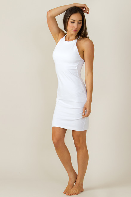 Grace Yoga Halter Dress White