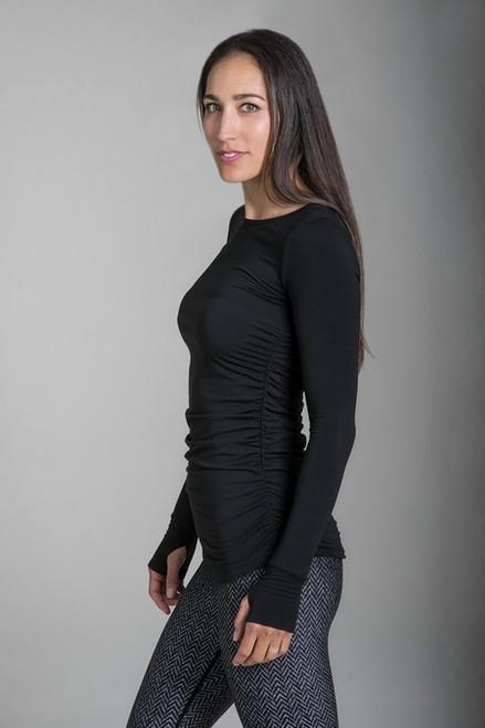 Side Ruched Yoga Top Black in Black