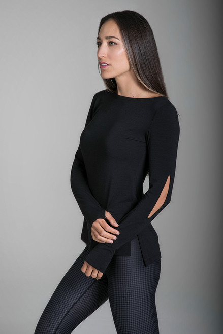 KiraGrace Slit Sleeve Boat Neck Yoga Top in Black