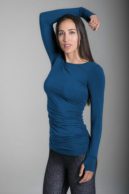 Side Ruched Yoga Top in Blue Abyss