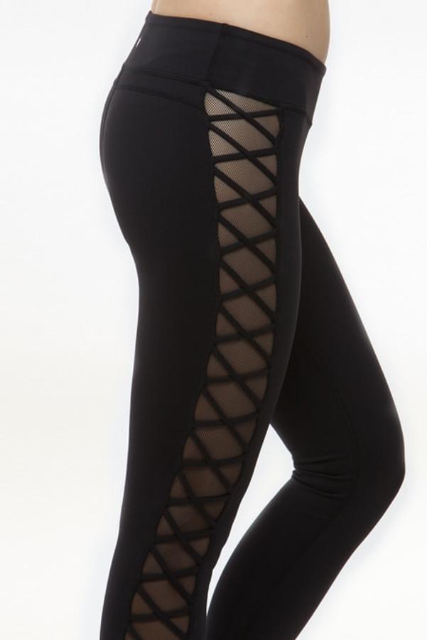 Romance Lace-Up Mesh Yoga Legging (Black)