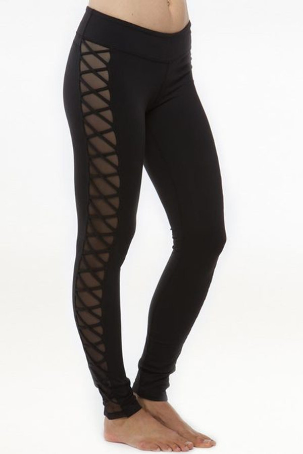 Black Romance Lace-Up Yoga Mesh Leggings