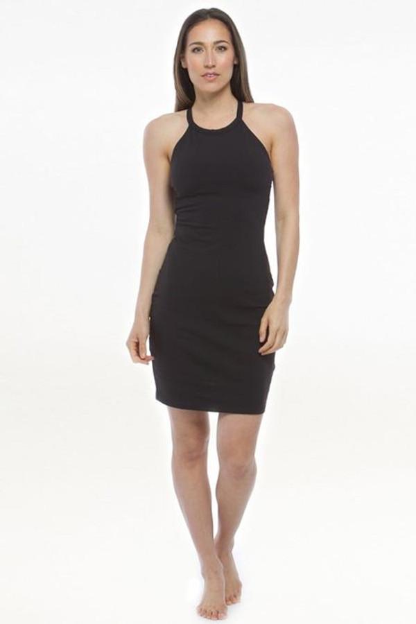 Grace Yoga Halter Dress in Black | Yoga Dresses | KiraGrace