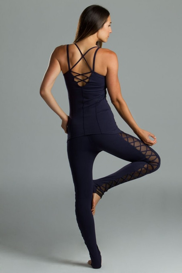 Navy Romance Lace Up Legging yoga outfit tree pose
