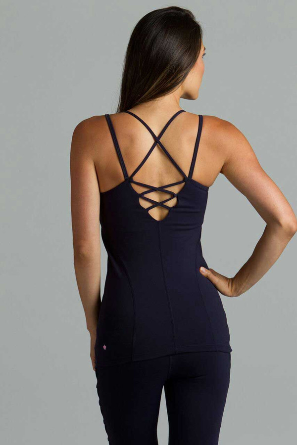 Navy Corset Yoga Cami lace up back