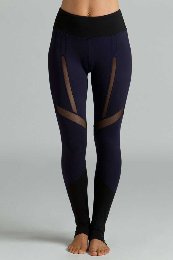 Strut Yoga Legging navy and black mesh front