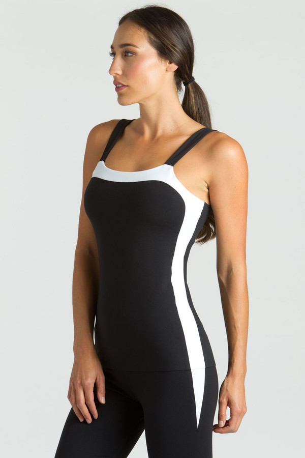 KiraGrace Grace Bodice Tank in Black and White showing white side detailing