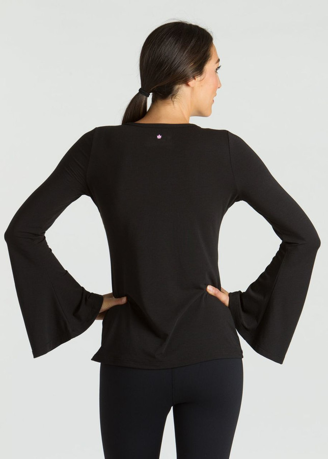 KiraGrace Bell Sleeve Yoga Top in Black with cute wide sleeves