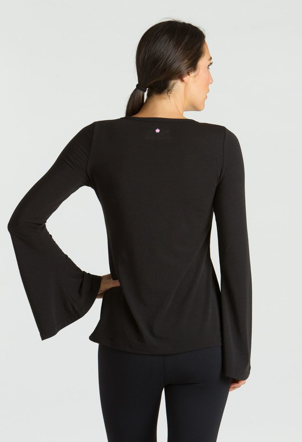KiraGrace Bell Sleeve Yoga Top in Black