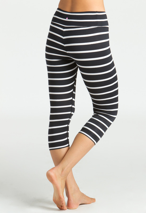 Grace High Waisted Yoga Capri Stripe Print (back)