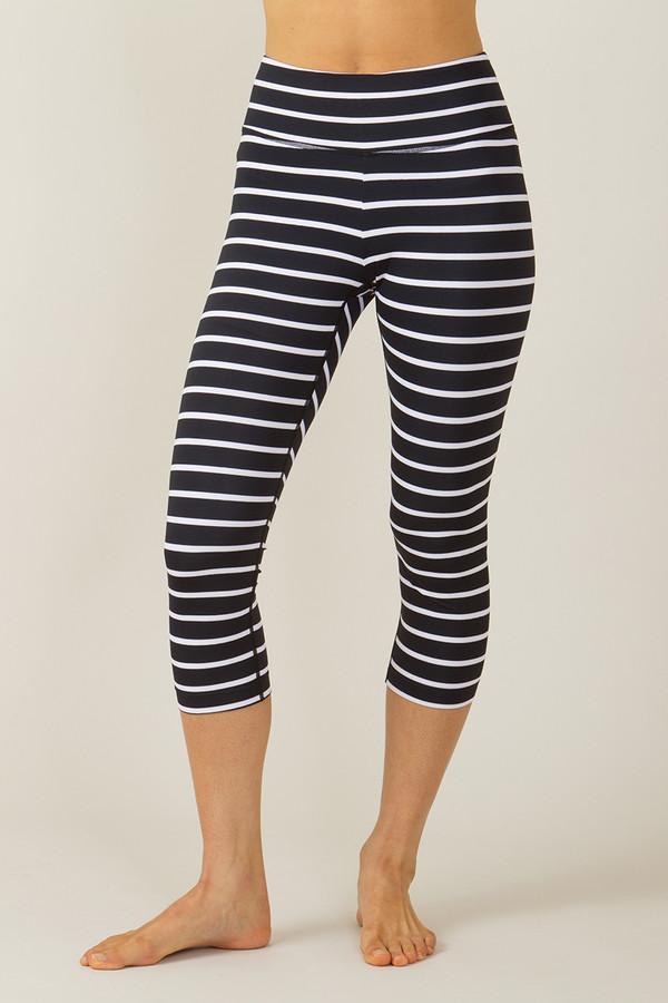 Grace High Waisted Yoga Capri Stripe Print
