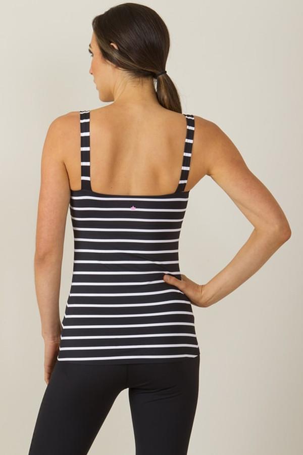 KiraGrace Grace Refined Yoga Cami Black with white stripes