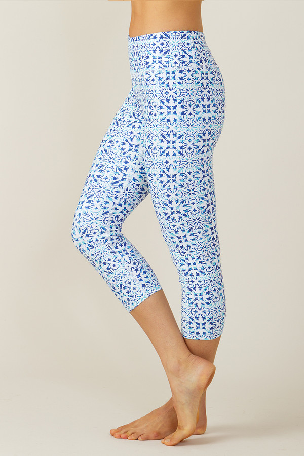 Grace High Waisted Yoga Capri (Riviera Tile print)