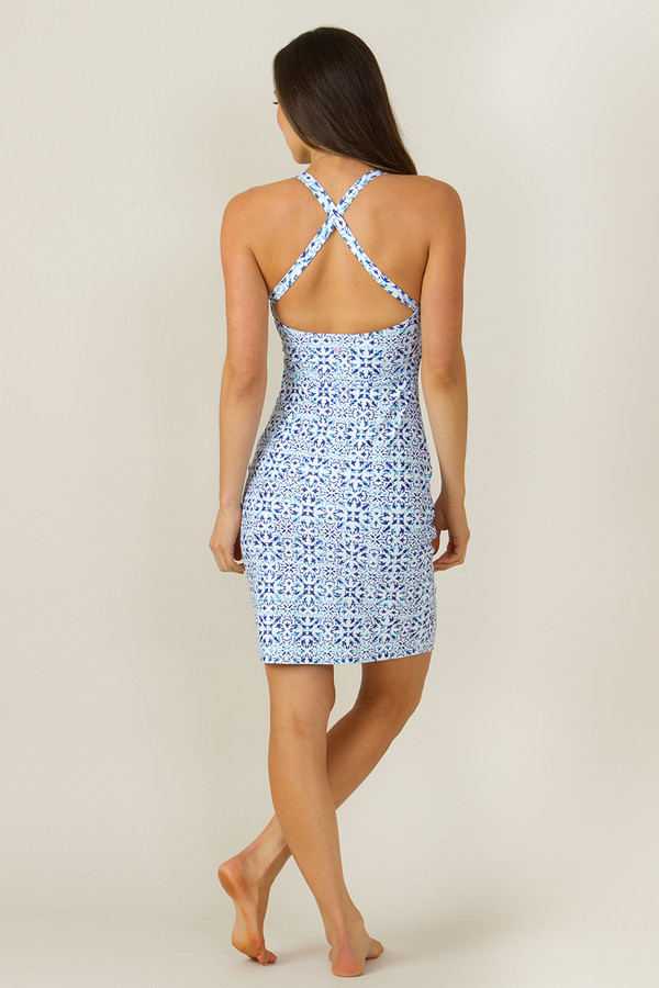 Grace Yoga Halter Dress Riviera Tile Print (back)