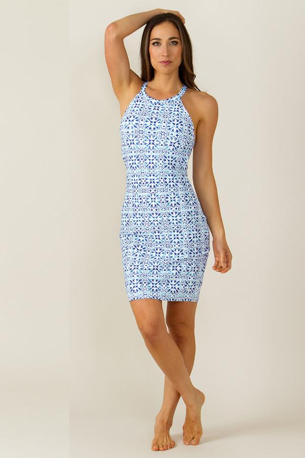 Grace Yoga Halter Dress Riviera Tile Print