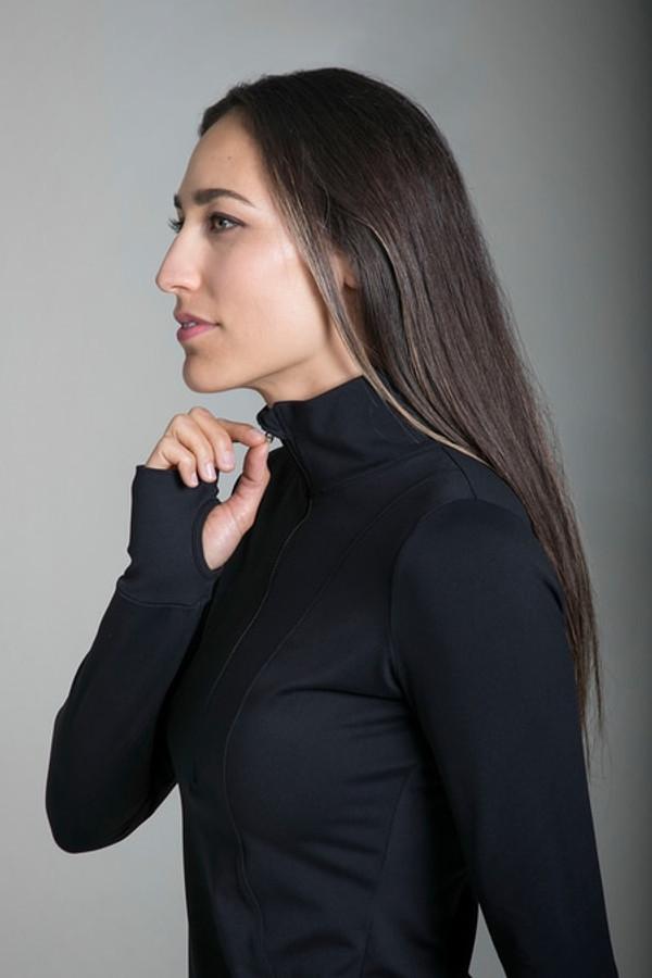 Zipper detail in Grace Half Zip Pullover in Black