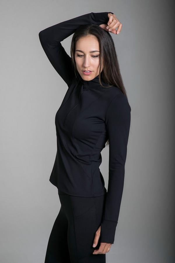 Grace Half Zip Pullover in Black