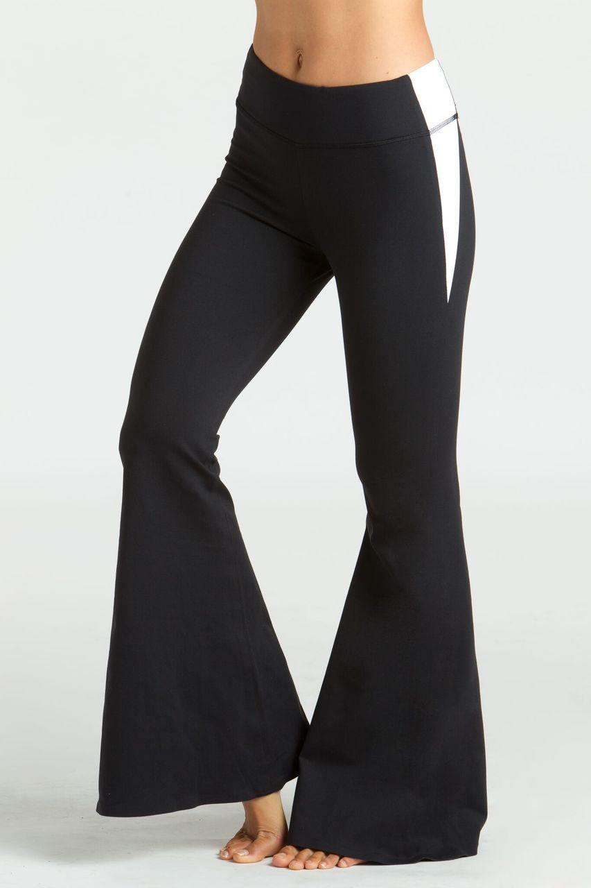 e4a61800dd1fe5 KiraGrace Grace Flare Yoga Pant in black and white