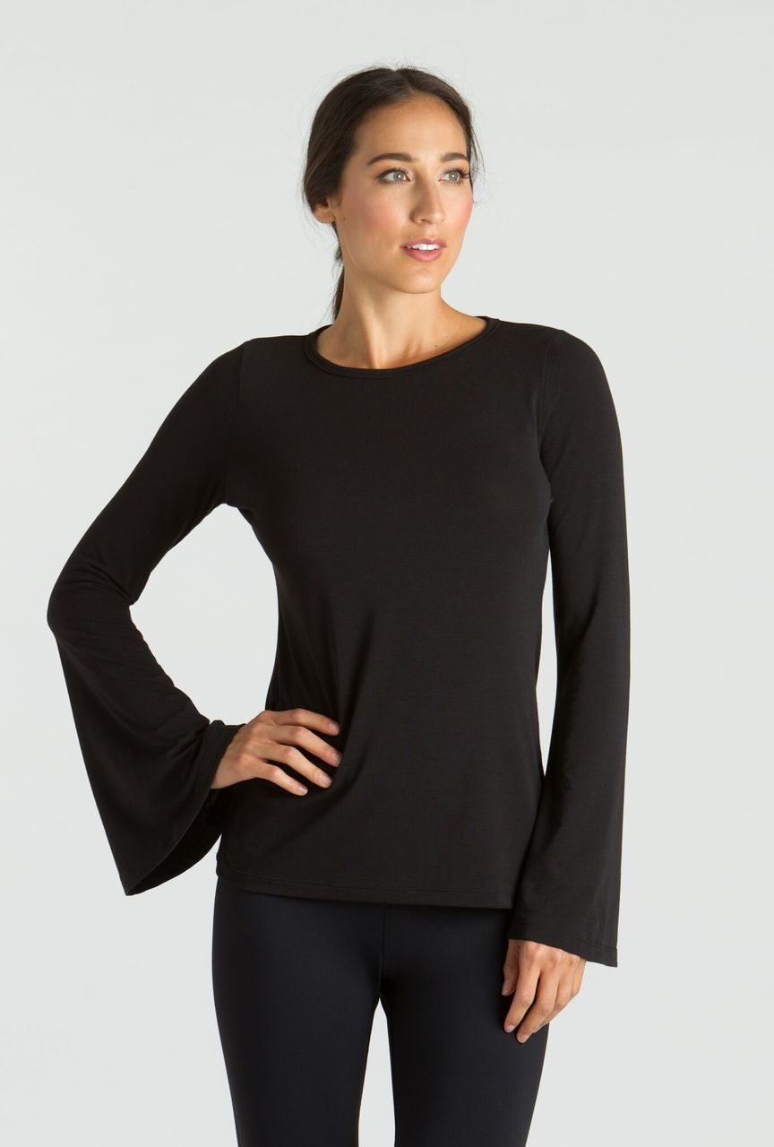 646111af196d4 Grace Bell Sleeve Yoga Top in Black
