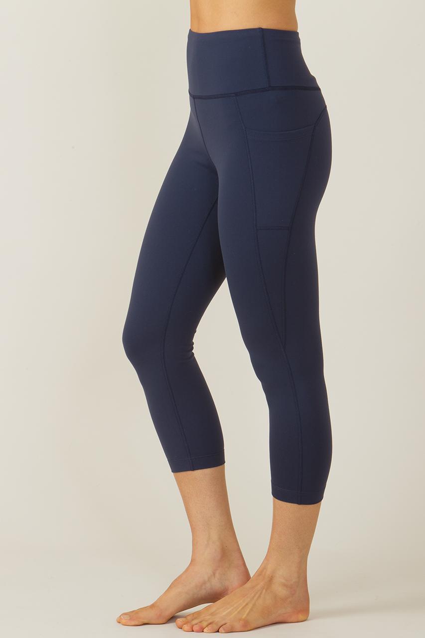 de265511deddcf Ultra High Waist Pocket Capri in Navy | Yoga Capris & Crops | KiraGrace
