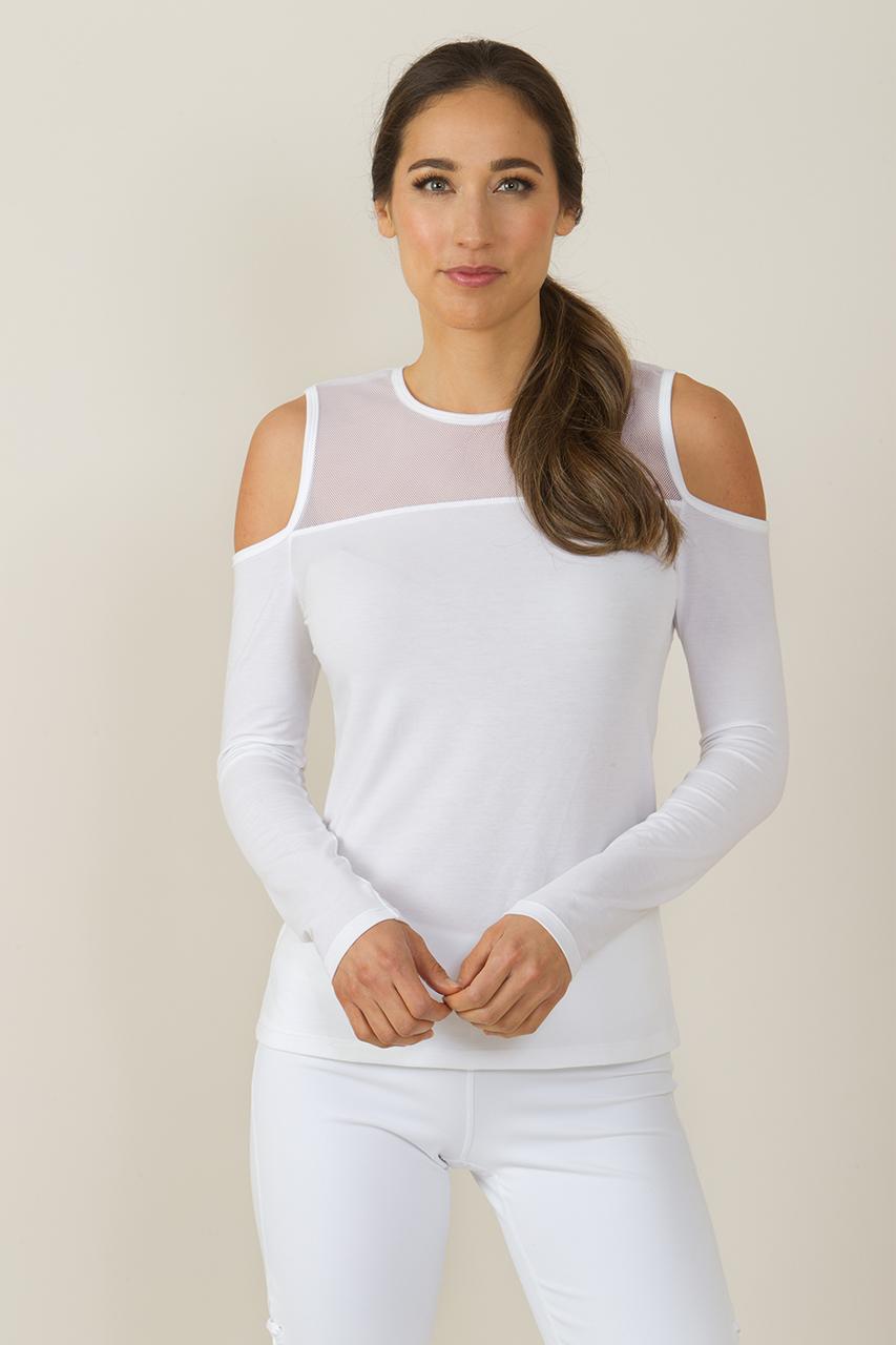 4522989442bc0 KiraGrace White Romance Cold Shoulder Cut-Out Yoga Shirt