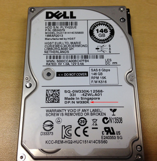 """DELL 146GB 15K 2.5"""" 6GBPS SAS HDD"""